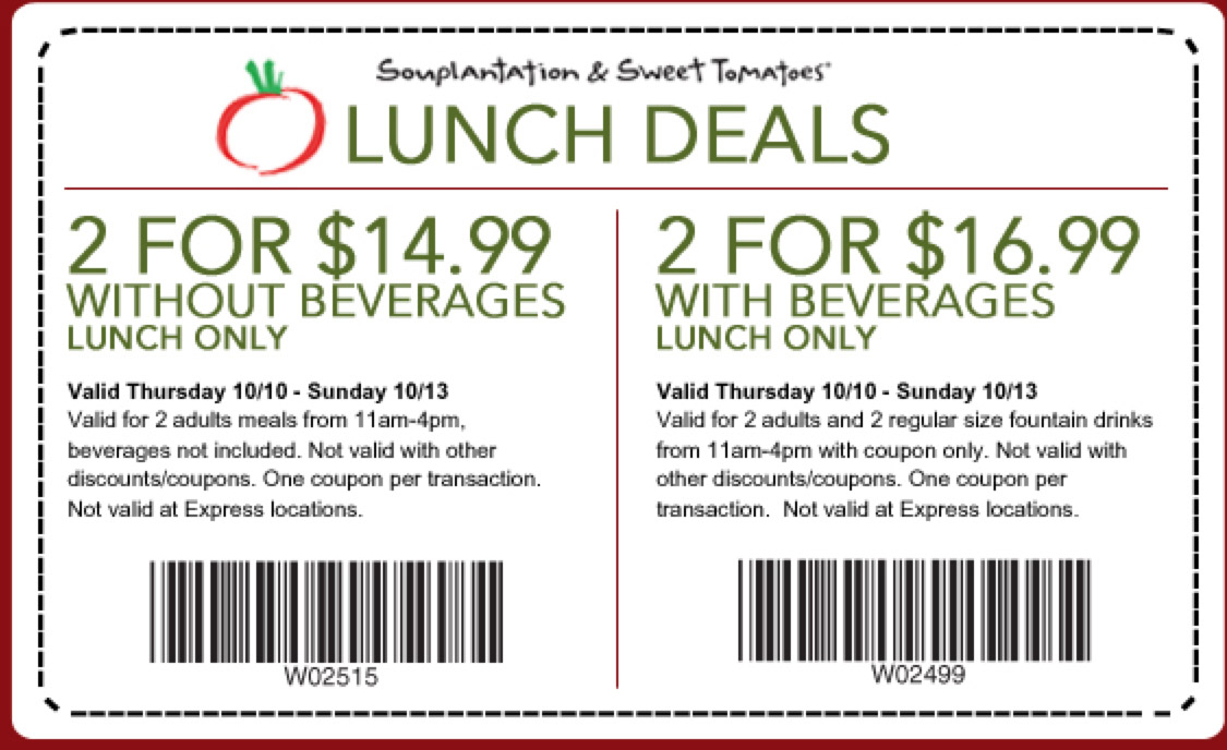 picture relating to Sweet Tomatoes Printable Coupons named Souplantation lunch discount coupons : August 2018 Promotions